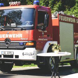 Die Feuerwehr im Einsatz am Weiher - dieses Mal ohne Feuer aber mit brennender Begeisterung der Besuchern.